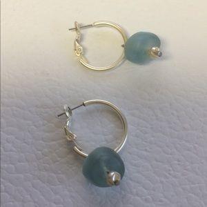White metal and turquoise bead dangle earrings